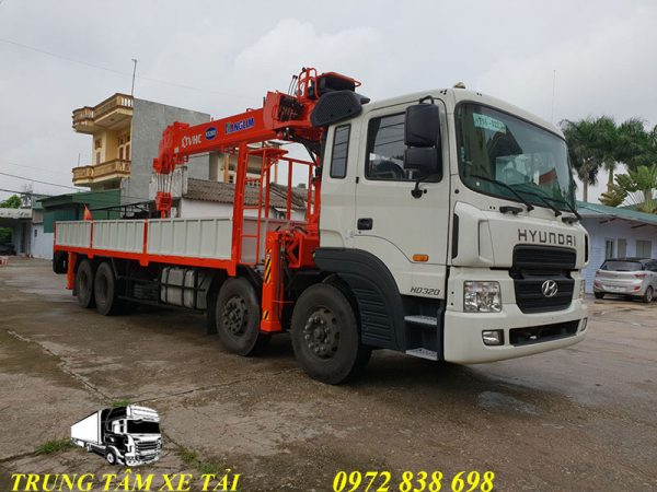 hyundai hd320 gắn cẩu kanglim 12 tấn