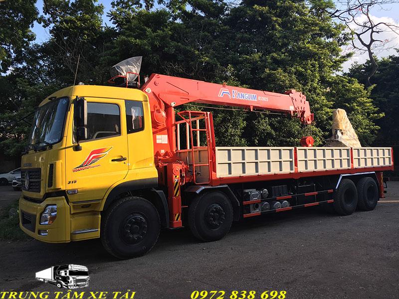 xe tải dongfeng 4 chân gắn cẩu kanglim 12 tấn